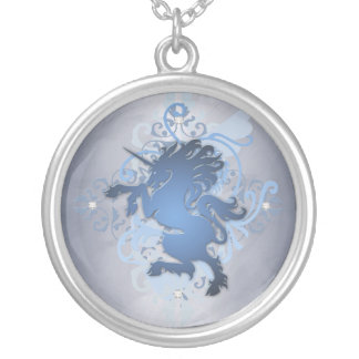 Urban Fantasy Lite Blue Unicorn Diamond Necklace