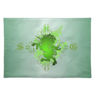 Urban Fantasy Monogram Green Unicorn Placemats
