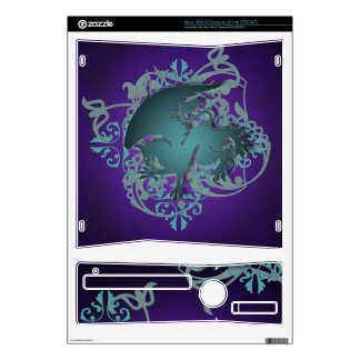 Urban Fantasy Teal Griffin Purple Xbox Skin Decals For Xbox 360 S