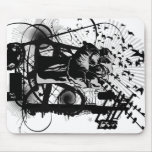 Urban Fist with crows and wires illustration. Mouse Pad
