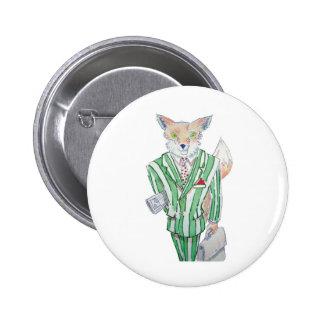 urban fox pinback buttons