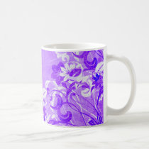 flower, flowers, floral, flora, flourish, pattern, design, art, garden, nature, graphic, urban, grunge, distressed, gift, gifts, purple, lavender, mug, mugs, Caneca com design gráfico personalizado