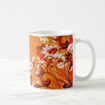 flower, flowers, floral, flora, flourish, pattern, design, art, garden, nature, graphic, urban, grunge, distressed, gift, gifts, orange, mug, mugs, Mug with custom graphic design