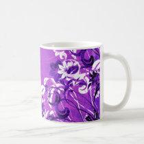 flower, flowers, floral, flora, garden, nature, grunge, urban, gift, gifts, art, design, purple, mug, mugs, Mug with custom graphic design