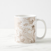 flower, flowers, floral, flora, flourish, garden, nature, art, design, pattern, urban, grunge, distressed, gift, gifts, pastel, antique, sepia, brown, earthy, mug, mugs, Caneca com design gráfico personalizado