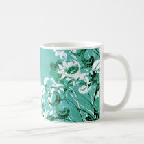 flower, flowers, floral, flora, flourish, pattern, design, art, garden, nature, graphic, urban, grunge, distressed, gift, gifts, teal, turquoise, blue, green, mug, mugs, Caneca com design gráfico personalizado
