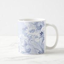 flower, flowers, floral, flora, flourish, pattern, design, art, garden, nature, graphic, urban, grunge, distressed, gift, gifts, blue, pastel, light blue, mug, mugs, Mug with custom graphic design