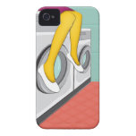 Urban girl sitting in a laundry in the big city iPhone 4 Case-Mate cases