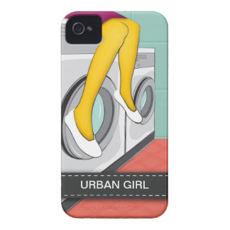 Urban girl sitting in a laundry in the big city iPhone 4 cover