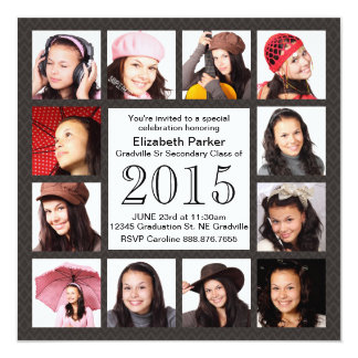 Urban Gray Brown 12 Photos Graduation Party Card