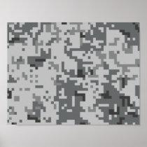 Urban Grey Pixel Camo pattern Poster