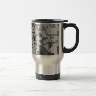 Urban Grey Pixel Camo pattern Travel Mug