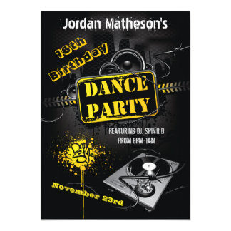 Urban Grunge 16th Birthday Dance Party Invitation