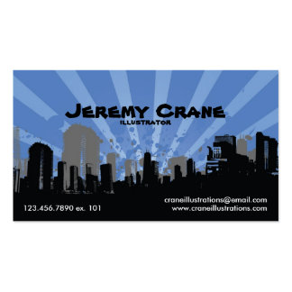 Urban Grunge Cityscape - Blue Double-Sided Standard Business Cards (Pack Of 100)