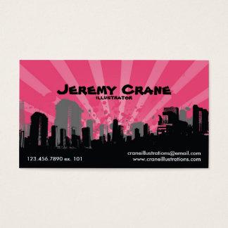 Urban Grunge Cityscape - Pink Business Card