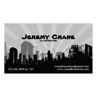 Urban Grunge Cityscape - White Business Card