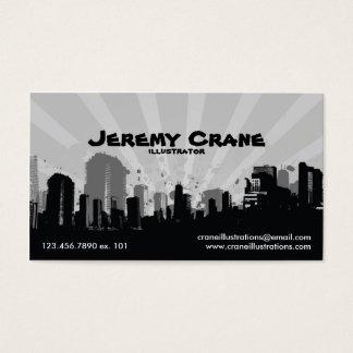 Urban Grunge Cityscape - White Business Card
