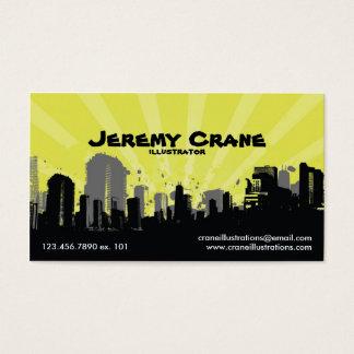Urban Grunge Cityscape - Yellow Business Card