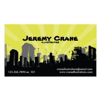 Urban Grunge Cityscape - Yellow Business Card Template