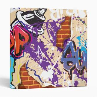 Urban Hip Hop Graffiti Wall. 3 Ring Binder