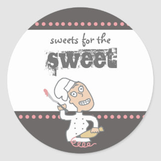 urban indie comic pastry chef baking gift tag s... classic round sticker