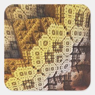 Urban Jungle 3D Fractal Square Sticker