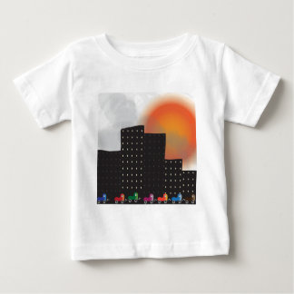 Urban Jungle Smog and Haze in a City, Cars, Sun Baby T-Shirt