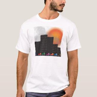 Urban Jungle Smog and Haze in a City, Cars, Sun T-Shirt
