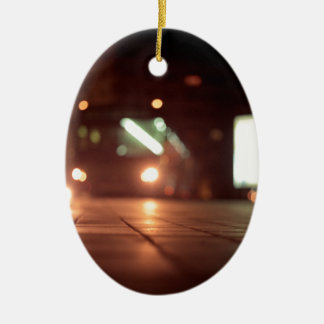 Urban landscape and bus AT night Hasselblad analog Double-Sided Oval Ceramic Christmas Ornament