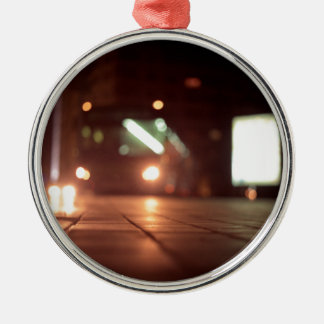 Urban landscape and bus AT night Hasselblad analog Round Metal Christmas Ornament