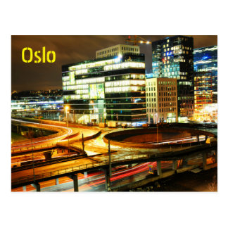 Urban landscape at night in Oslo, Norway Postcard