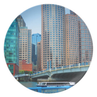 Urban Landscape Office Towers from Boston City USA Dinner Plate