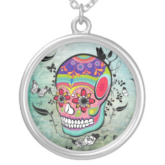 Urban Muerte Day of the Dead Illustrated Neckalce Round Pendant Necklace