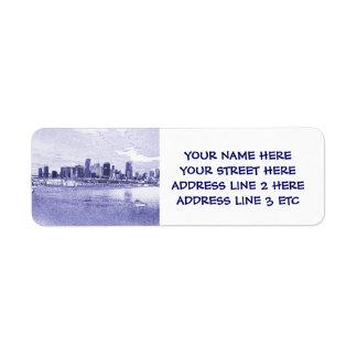 Urban Ocean Skyline Address Labels