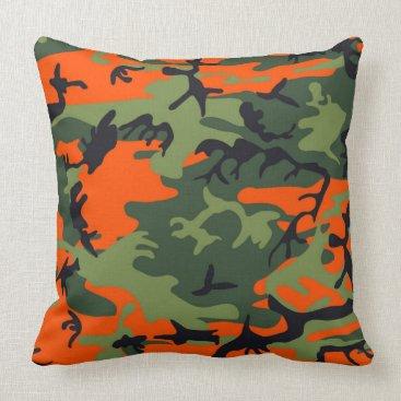 Urban Orange And Green Camo Pillow