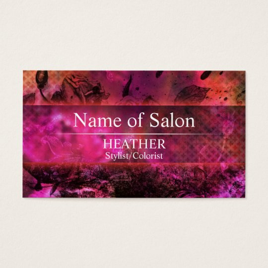 Urban Pink Floral Salon Business Card