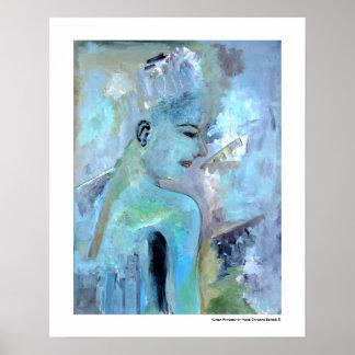 Urban Princess Portrait Figurative Blue Paintings Poster