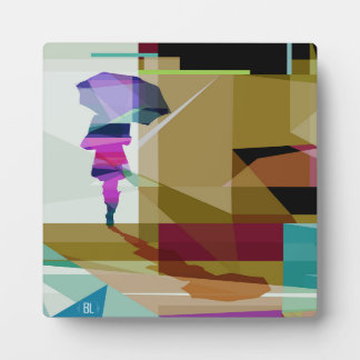 Urban rain print with stand plaque