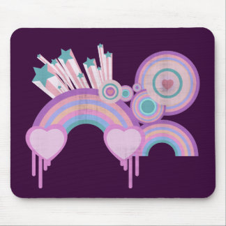 Urban Rainbow Stars and Spirals Mouse Pad