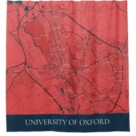 URBAN RED NAVY OXFORD UNIVERSITY UK OUTLINE MAP SHOWER CURTAIN