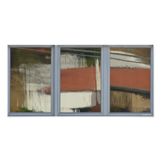 Urban Reflections Grey Window Panes Poster
