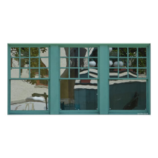 Urban Reflections Teal Window Panes Poster