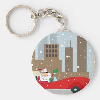 Urban Santa in Sleek Car Keychain
