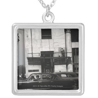 Urban scene in USA Silver Plated Necklace