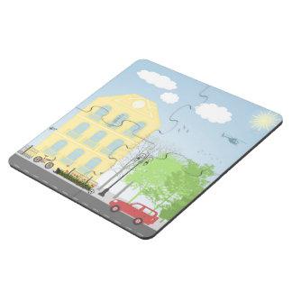 Urban scene puzzle coaster