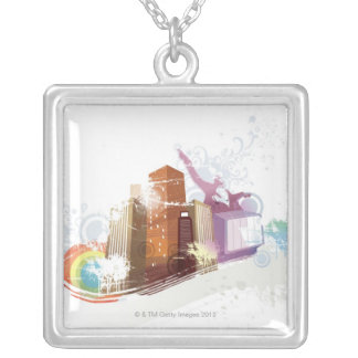 Urban Scene Silver Plated Necklace