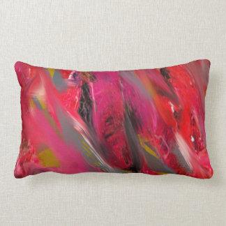 Urban Scratch: Red and pink Lumbar Pillow