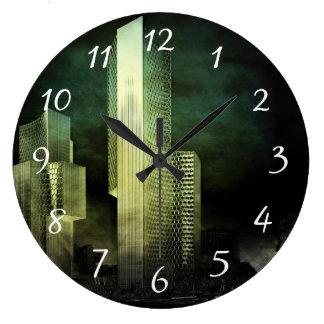 Urban Skyline at Night in Digital Grunge Large Clock