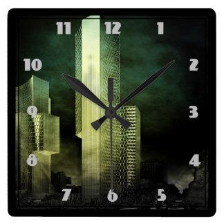 Urban Skyline at Night in Digital Grunge Square Wall Clock