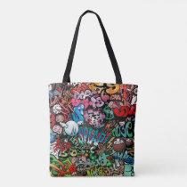 Urban street art Graffiti characters pattern Tote Bag